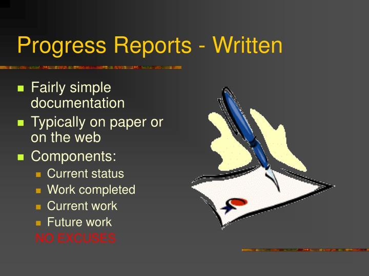 Progress Reports - Written
