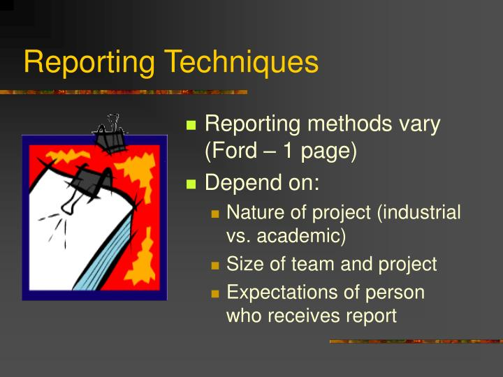 Reporting Techniques