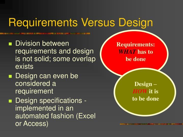 Requirements Versus Design