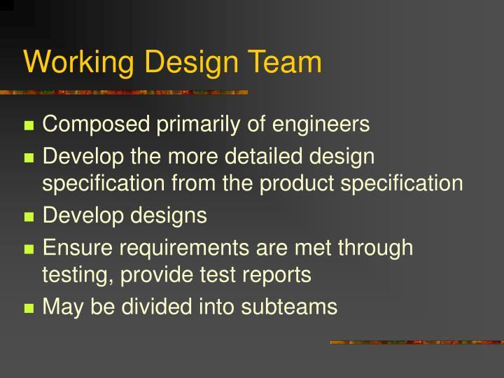 Working Design Team