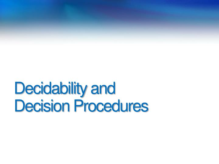 Decidability and