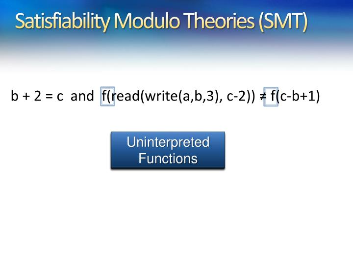 Satisfiability Modulo Theories (SMT)