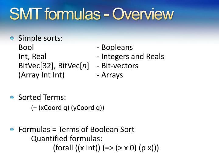 SMT formulas - Overview
