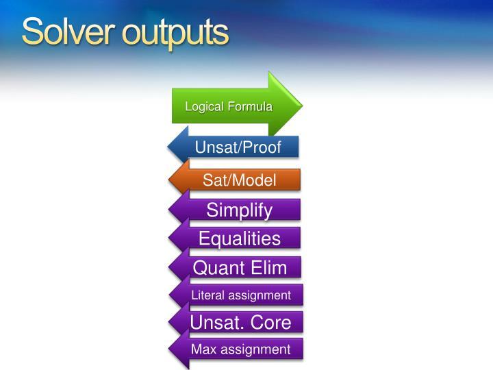 Solver outputs