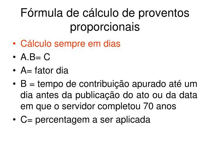 Fórmula de cálculo de proventos proporcionais