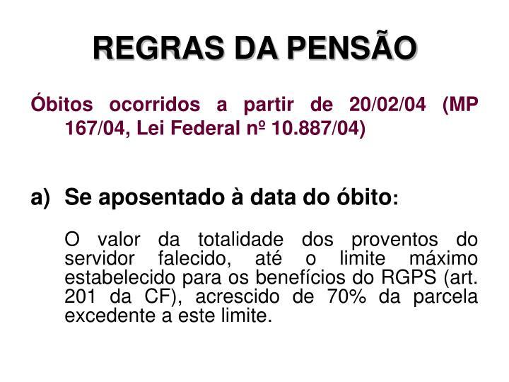 REGRAS DA PENSÃO