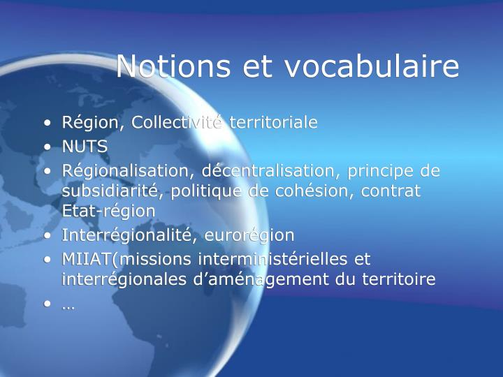 Notions et vocabulaire