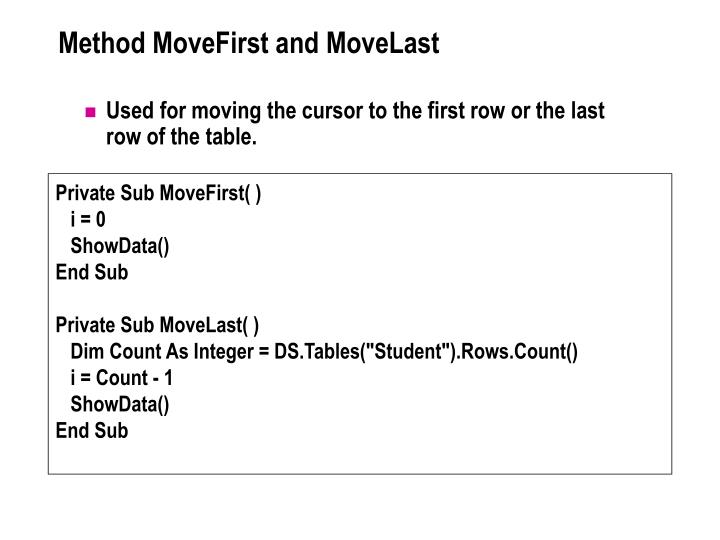 Method MoveFirst and MoveLast