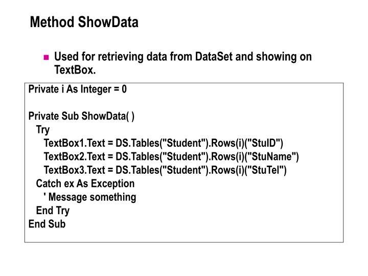 Method ShowData