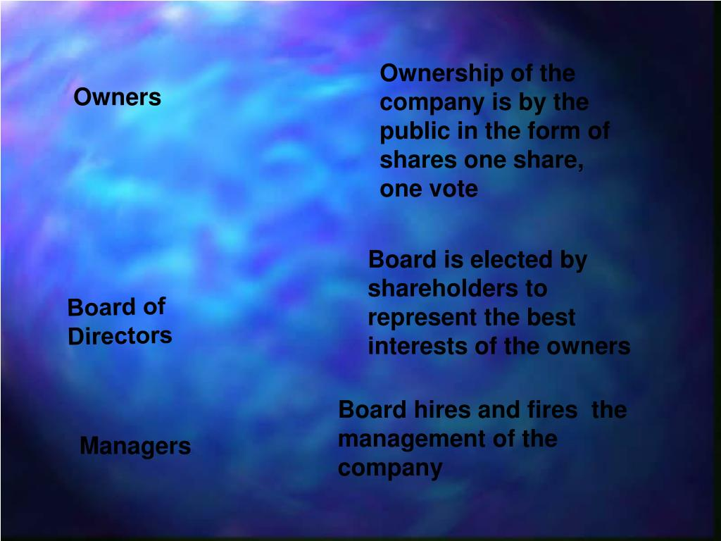 Ownership of the company is by the public in the form of shares one share, one vote