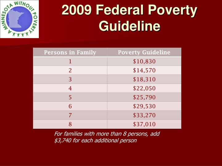 2009 federal poverty guideline