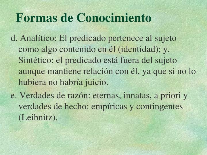 Formas de Conocimiento