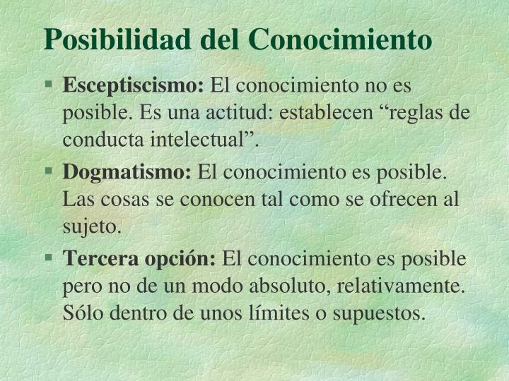 Posibilidad del Conocimiento