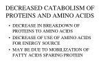 decreased catabolism of proteins and amino acids