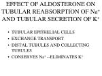 effect of aldosterone on tubular reabsorption of na and tubular secretion of k