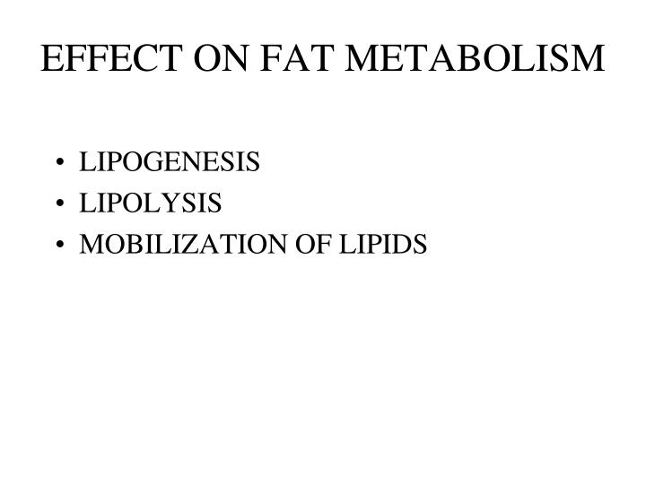 EFFECT ON FAT METABOLISM