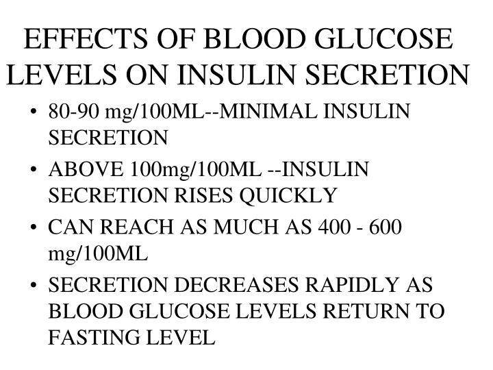 EFFECTS OF BLOOD GLUCOSE LEVELS ON INSULIN SECRETION