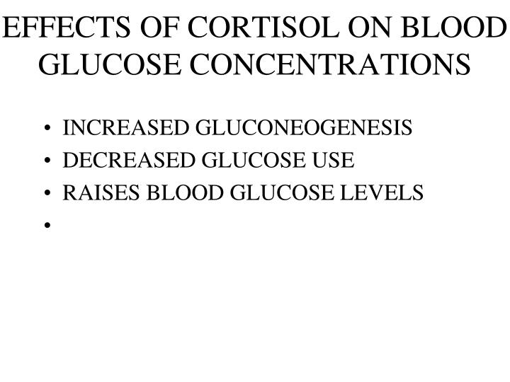 EFFECTS OF CORTISOL ON BLOOD GLUCOSE CONCENTRATIONS