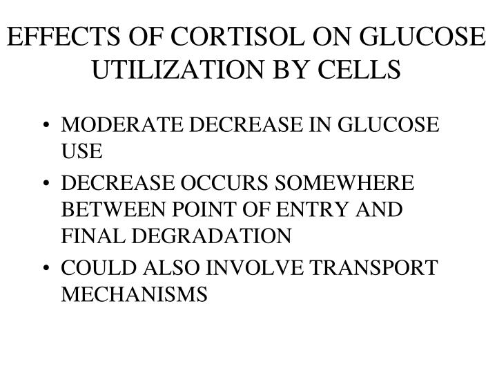 EFFECTS OF CORTISOL ON GLUCOSE UTILIZATION BY CELLS