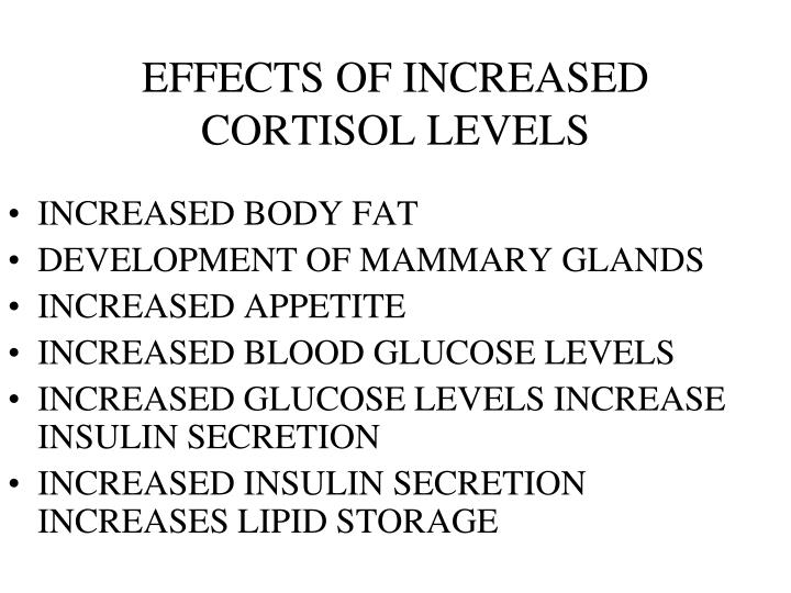 EFFECTS OF INCREASED CORTISOL LEVELS