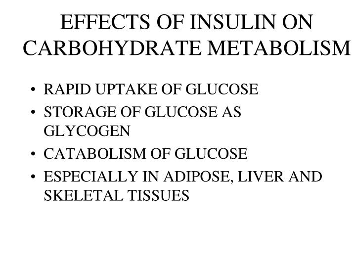 EFFECTS OF INSULIN ON CARBOHYDRATE METABOLISM