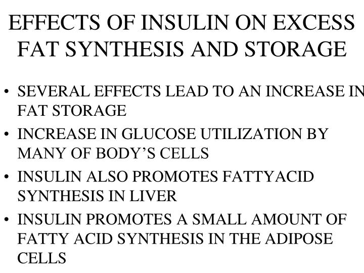 EFFECTS OF INSULIN ON EXCESS FAT SYNTHESIS AND STORAGE