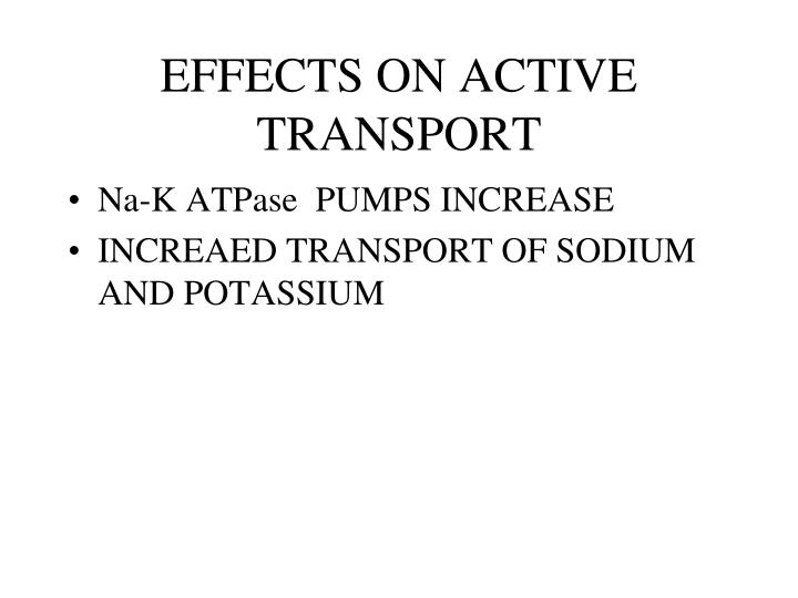 EFFECTS ON ACTIVE TRANSPORT