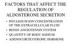 factors that affect the regulation of aldosterone secretion