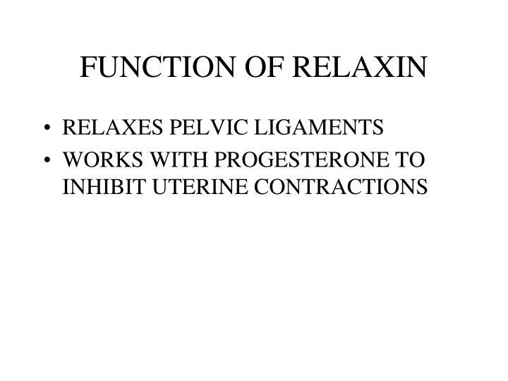 FUNCTION OF RELAXIN