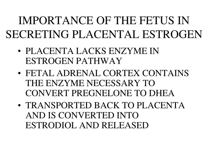IMPORTANCE OF THE FETUS IN SECRETING PLACENTAL ESTROGEN