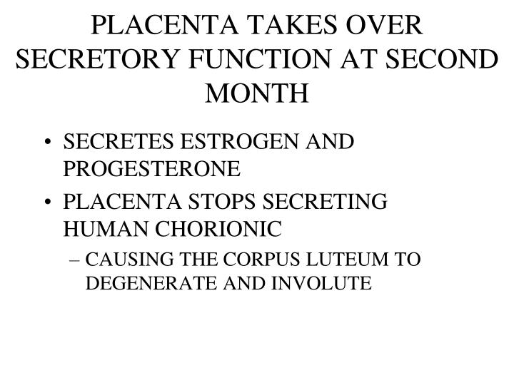 PLACENTA TAKES OVER SECRETORY FUNCTION AT SECOND MONTH