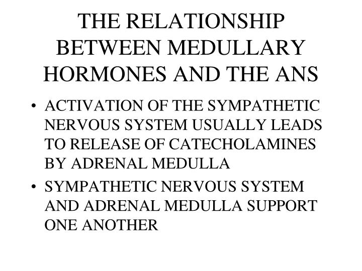 THE RELATIONSHIP BETWEEN MEDULLARY HORMONES AND THE ANS