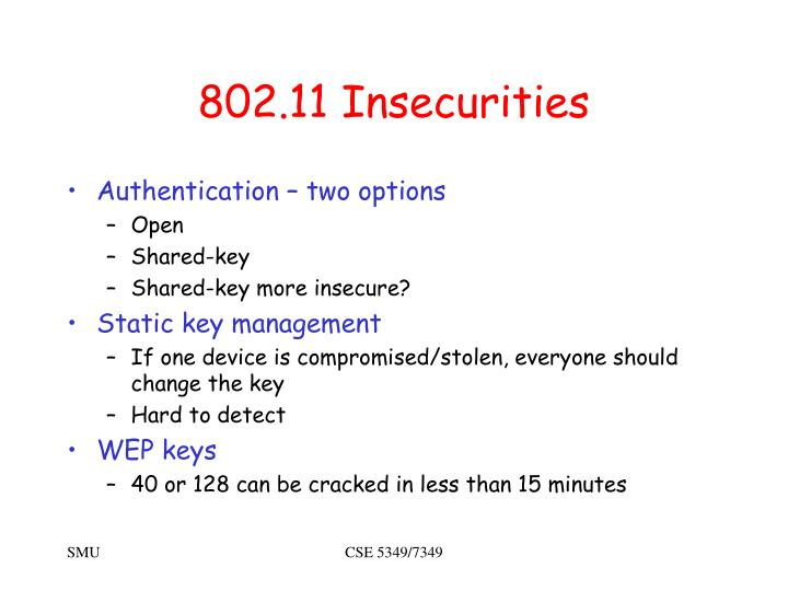 802.11 Insecurities