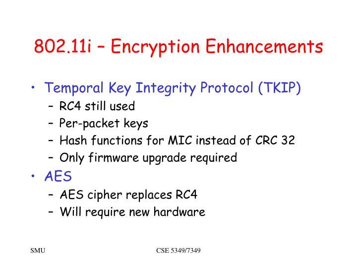 802.11i – Encryption Enhancements