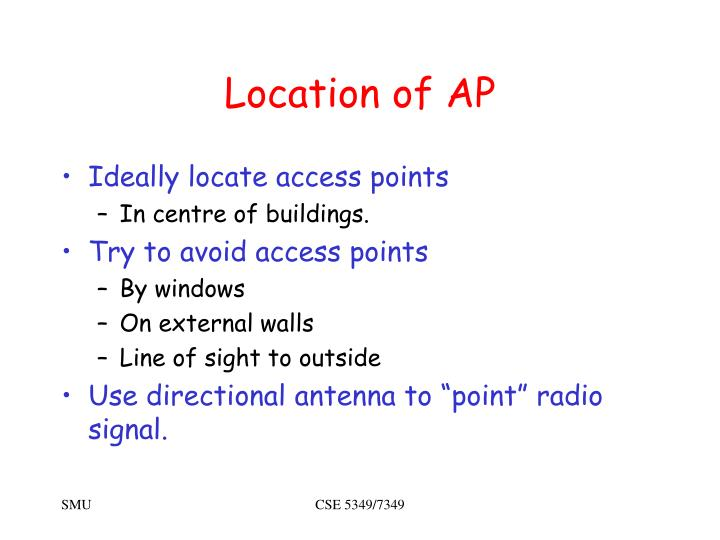 Location of AP