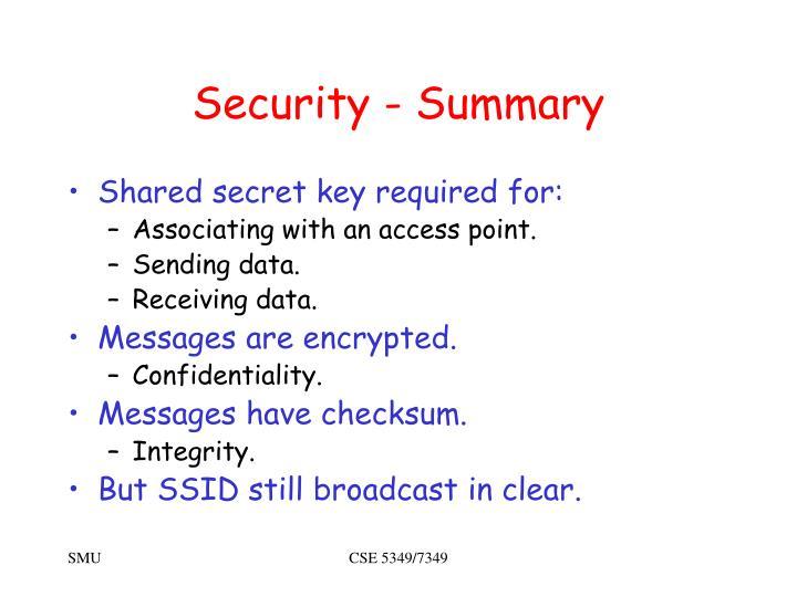 Security - Summary