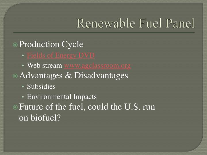 Renewable Fuel Panel