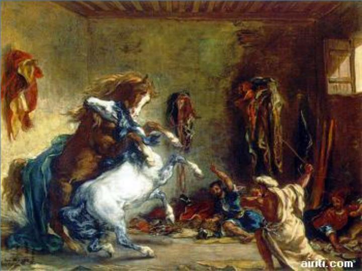 馬廄中戰鬥的阿拉伯馬