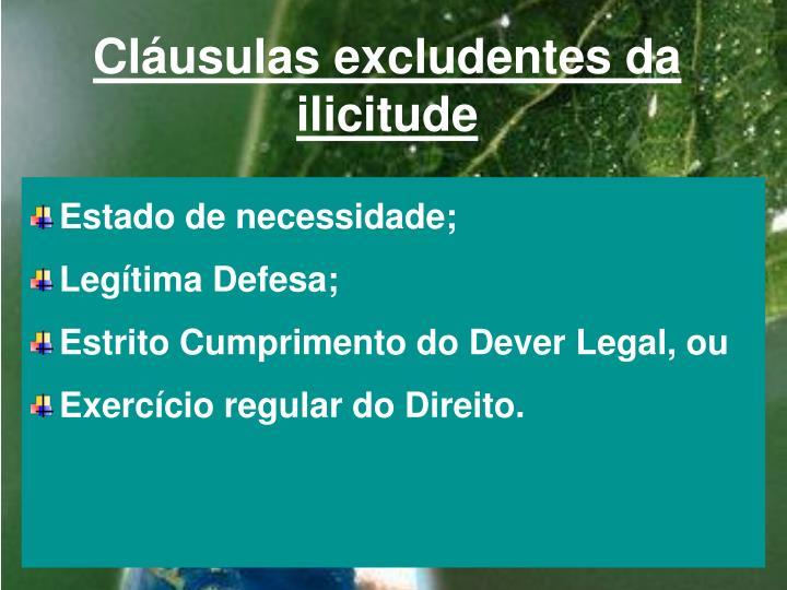 Cláusulas excludentes da ilicitude