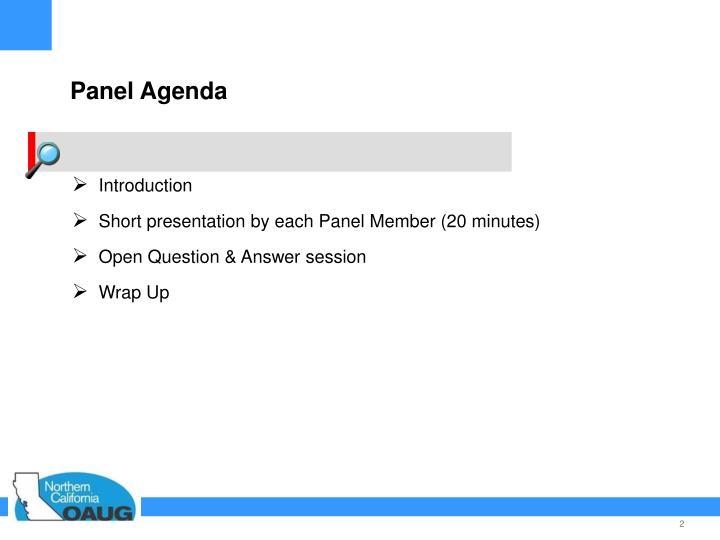Panel Agenda