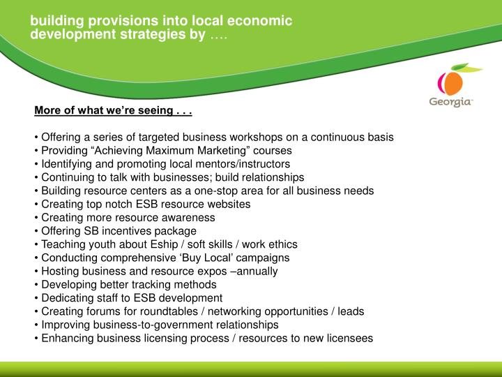 building provisions into local economic development strategies by