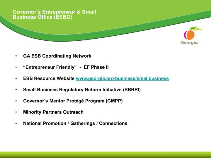 Governor's Entrepreneur & Small Business Office (ESBO)