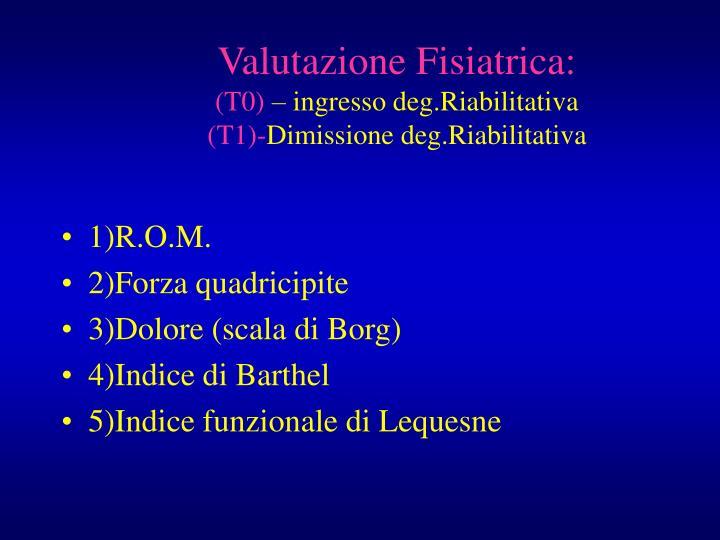 Valutazione Fisiatrica: