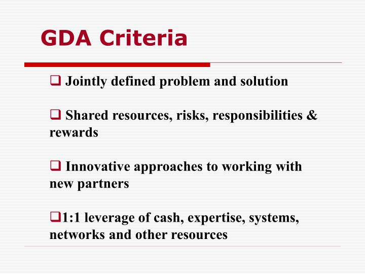 GDA Criteria