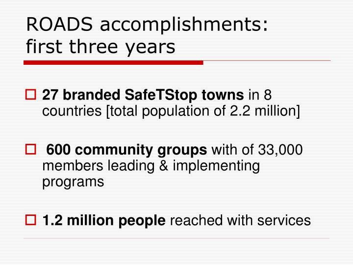 ROADS accomplishments: