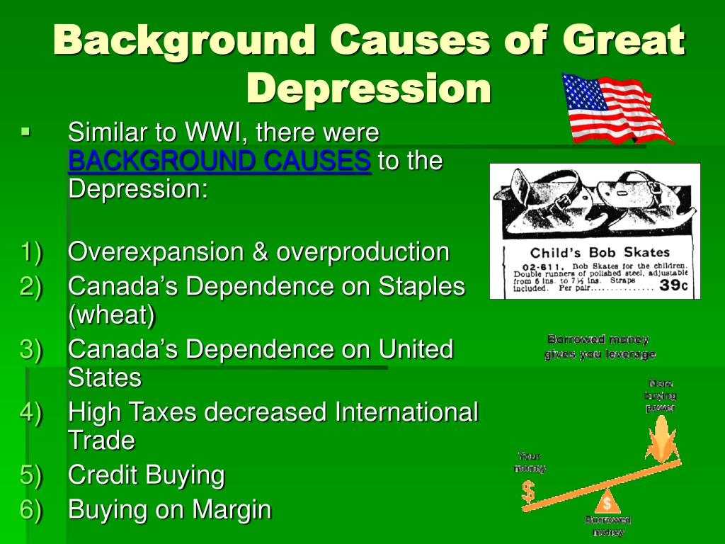 the causes of the great depression Many americans are convinced that the great depression reflected the breakdown of an old economic order built on unhampered markets, unbridled competition.