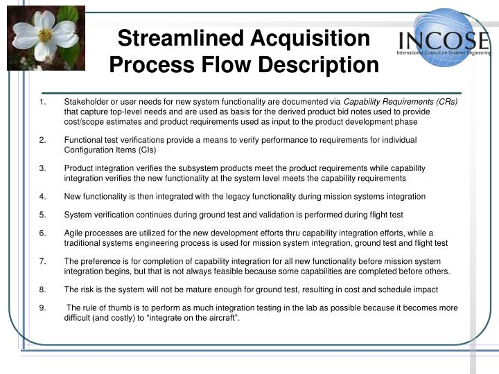 Streamlined Acquisition Process Flow Description