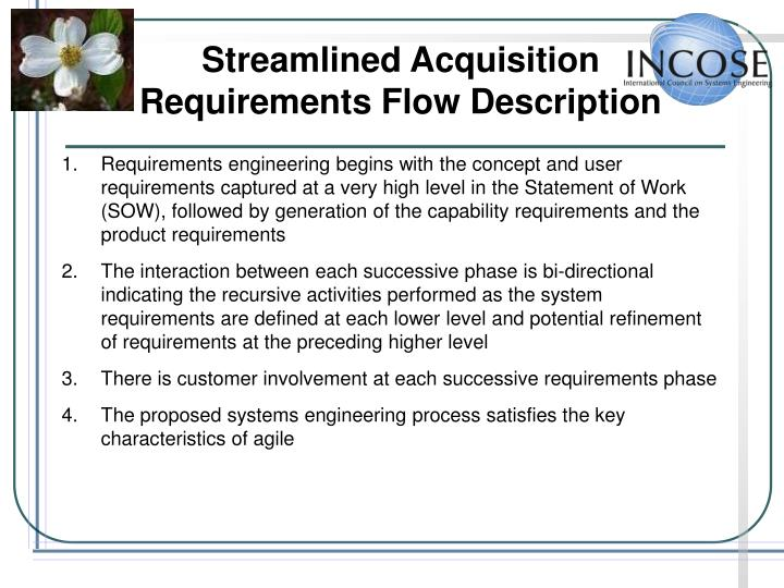 Streamlined Acquisition Requirements Flow Description