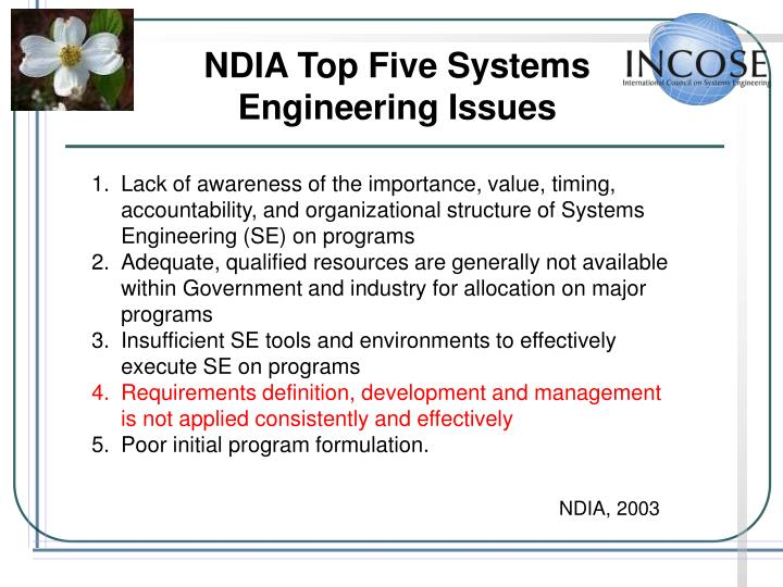 NDIA Top Five Systems Engineering Issues