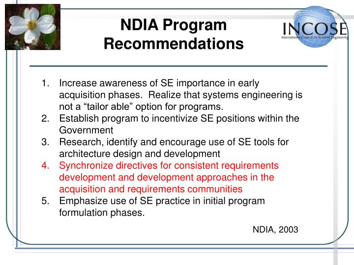 NDIA Program Recommendations